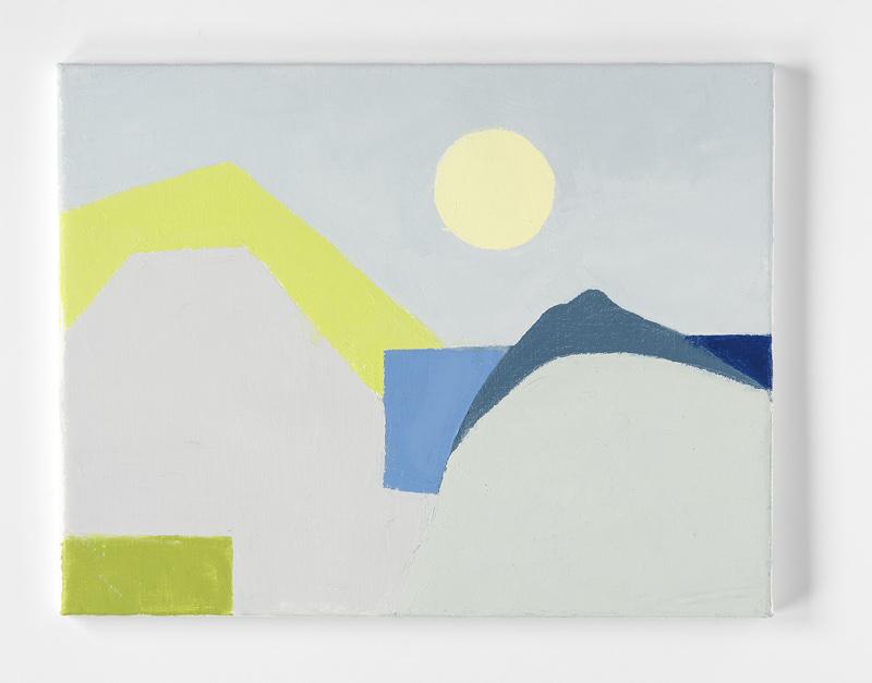 Etel Adnan. Peintures : Etel Adnan. Sans titre, 2014. Huile sur toile. 34,5 x 45 cm. Courtesy Galerie Lelong. © Fabrice Gibert