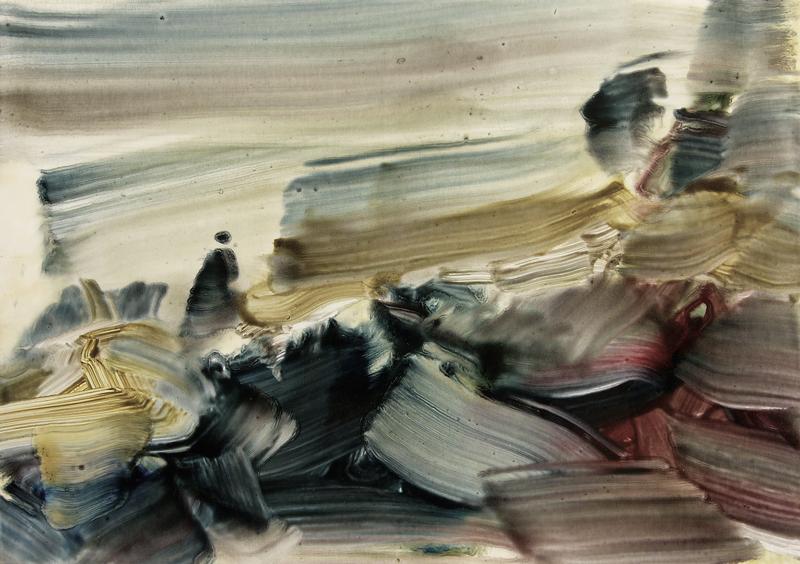 Paysage mental, le dessin sans dessein : Alain Sicard. 7-21-29-7-10-PA. 2010, huile sur papier, 21 x 29 cm.© Galerie Bernard Jordan, Paris