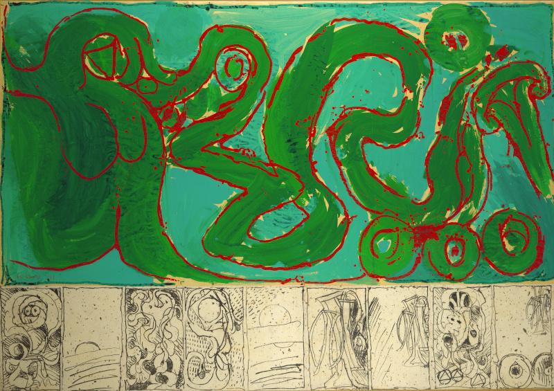Ensor, Magritte, Alechinsky… Chefs-d'œuvre du Musée d'Ixelles : Pierre Alechinsky, CoBrA de transmission, 1968 Acrylique sur toile (prédelle : lithographies marouflées sur la toile). © ADAGP Paris 2019, photo Musée d'Ixelles