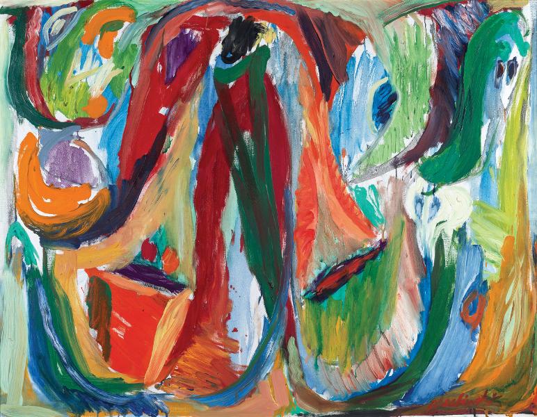 Cobra - La couleur spontanée : Pierre Alechinsky Une bonne respiration, 1964 Huile sur toile, 89 x 116 cm Collection privée © Vincent Everarts. ADAGP, Paris, 2017