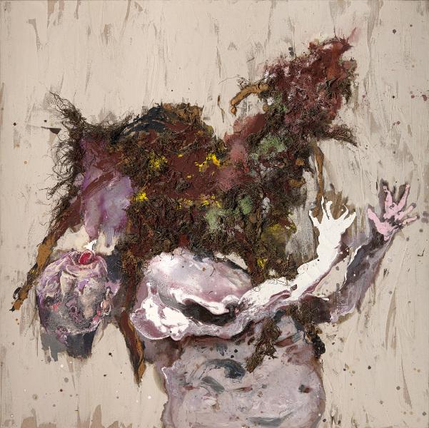 Collection LGR : Paul Rebeyrolle, Amalthée rouge (la chèvre qui a nourri Jupiter), 1996, peinture sur toile et technique mixte, 180 x 180 cm © ADAGP, Paris, 2013. Photo F. Fernandez