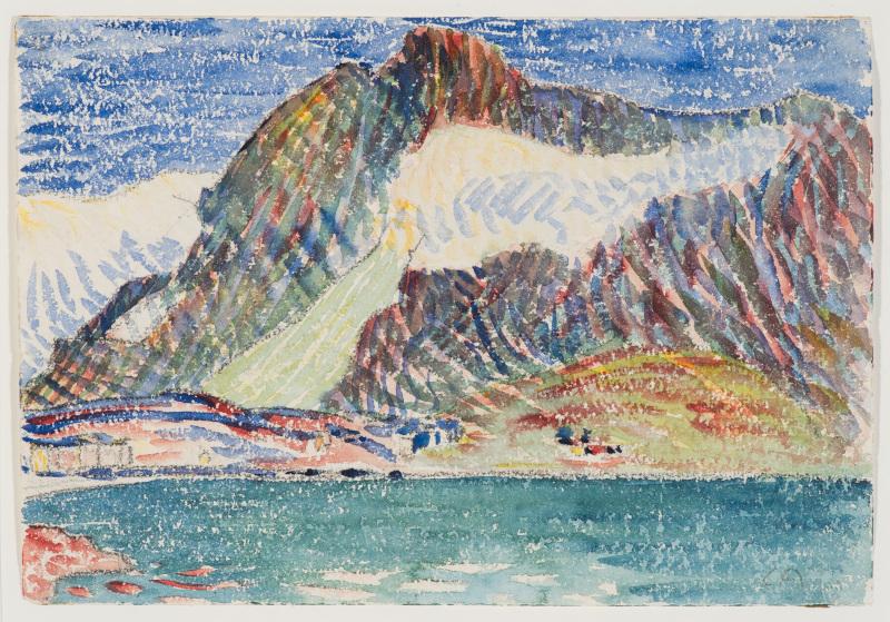 La Montagne fertile. Les Giacometti, Segantini, Amiet, Hodler et leur héritage. : Cuno Amiet : Paysage d'Engadine, 1906, © Collection privée, Bregaglia.