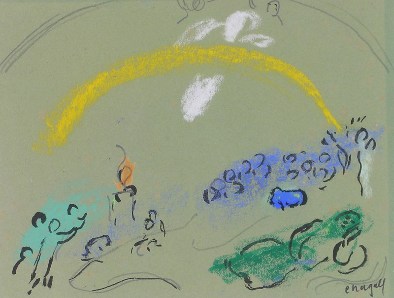 Les rares pastels de Marc Chagall, les dessins préparatoires au Message Biblique : Marc Chagall, Noé et l'Arc-en-ciel, 1961-1966, pastel et encre de chine sur papier vert, © Musée national Marc Chagall, cliché P. Gérin
