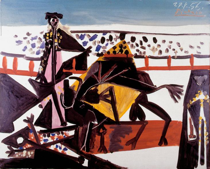 Le Peintre et l'arène – Art et tauromachie, de Goya à Barceló : Pablo Picasso. Passe de Cape. 1956, Huile sur toile, 60 x 73 cm. Musées de Belfort, Donation Maurice Jardot © Succession Picasso, 2014