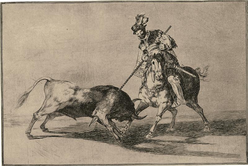Le Peintre et l'arène – Art et tauromachie, de Goya à Barceló : Francisco de Goya y Lucientes. Tauromaquia.  Série Tauromaquia (1815-1816). Edition n°4 de 1905 Le Cid Campéador combattant un taureau à la lance. Eau-forte, aquatinte brunie et burin. Estampe n°11, 24,7 x 35 cm (gravure) 30,9 x 48,2 cm (papier) inv. 82/8