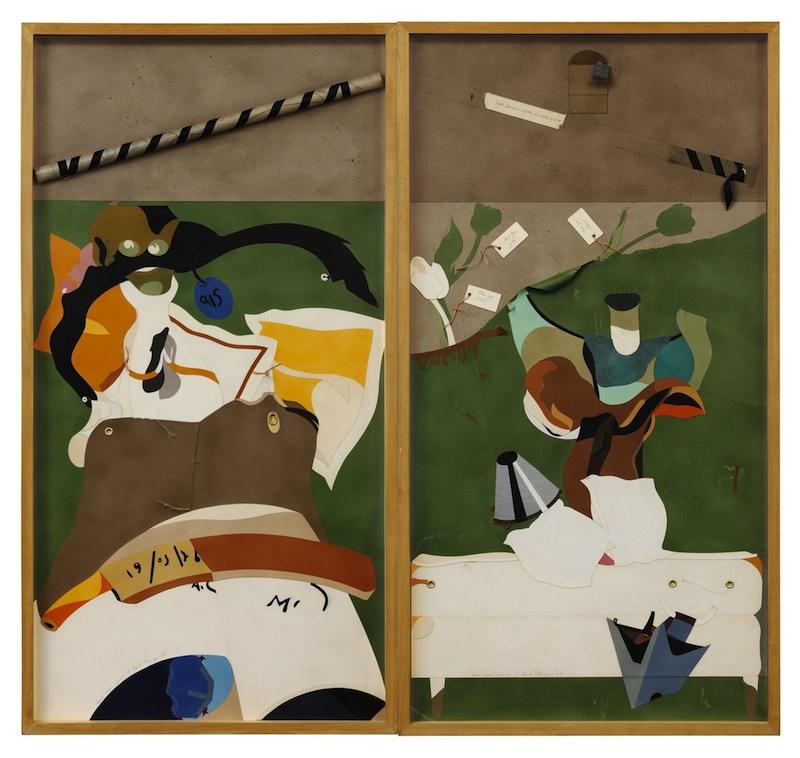 Eduardo Arroyo / Hervé Télémaque - Collages : Hervé Télémaque, Comme preuve n° 1, 1978, collage, 149 x 79 cm (x 2). Collection Maeght, Paris