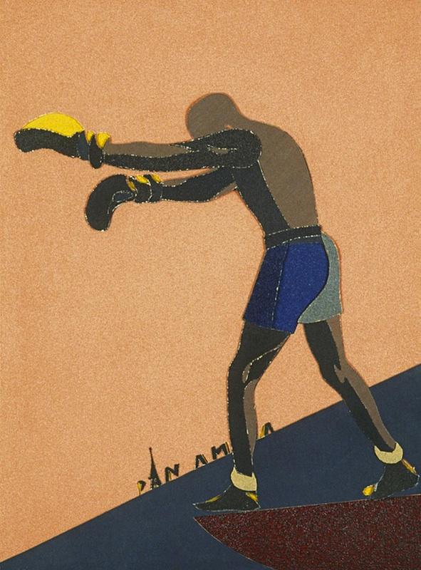 Eduardo Arroyo / Hervé Télémaque - Collages : Eduardo Arroyo, Panama, 1985, papier de verre, 75 x 55,5 cm. Collection particulière