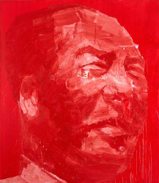 Collection LGR : Yan Pei-Ming, Portrait de Mao, 1995, acrylique sur toile, rouge vermillon de Chine, 200 x 180 cm © ADAGP, Paris, 2013.  Photo F. Fernandez