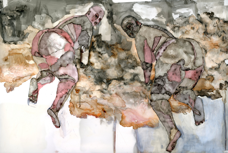 BIAC Martinique : Florine Demosthene The Capture Series, Wonder Twins, 2011 Ink, charcoal, graphite and oil bar on polypropylene 45.72cm x 91.44cm Courtesy of the Artist