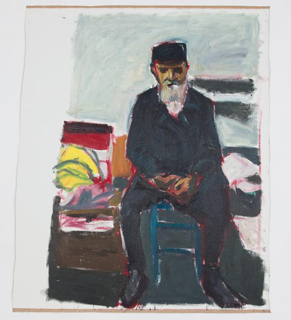 Damien Cabanes. Peut-on dessiner une couleur ? : Damien Cabanes, Barbu assis n°2. 2018, huile sur toile, 221 x 182 cm. Courtesy galerie Eric Dupont, Paris.