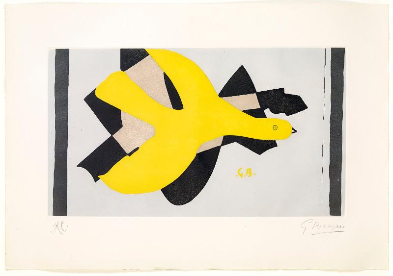 Vivantes natures : Georges Braque. L'oiseau et son ombre I. 1959, lithographie originale en couleurs sur Rives, 65 x 91 cm