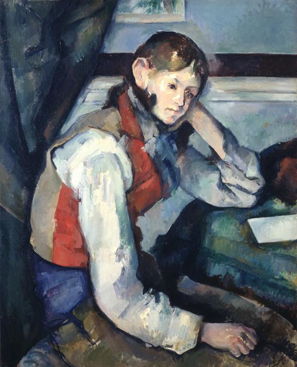 Chefs-d'oeuvre de la collection Bürhle : Paul Cézanne. Le garçon au gilet rouge, 1888-1890 huile sur toile, 79,5 x 64 cm Fondation Collection E. G. Bührle, Zurich, inv. 1