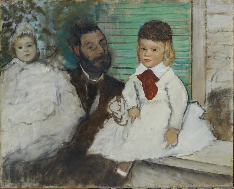 Chefs-d'oeuvre de la collection Bürhle : Edgar Degas. Ludovic Lepic et ses filles, vers 1871 huile sur toile, 65 x 81 cm Fondation Collection E. G. Bührle, Zurich, inv. 26