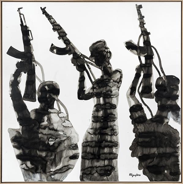 Barthélémy Toguo. Déluge : Déluge x 2016 Encre sur papier marouflé sur toile 200 x 200 cm W19489 courtesy galerie Lelong/bandjoun Station. Photos : fabrice gibert.