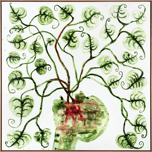Barthélémy Toguo. Déluge : Déluge VI 2016 Encre sur papier marouflé sur toile 200 x 200 cm W19485 courtesy galerie Lelong/bandjoun Station. Photos : fabrice gibert.