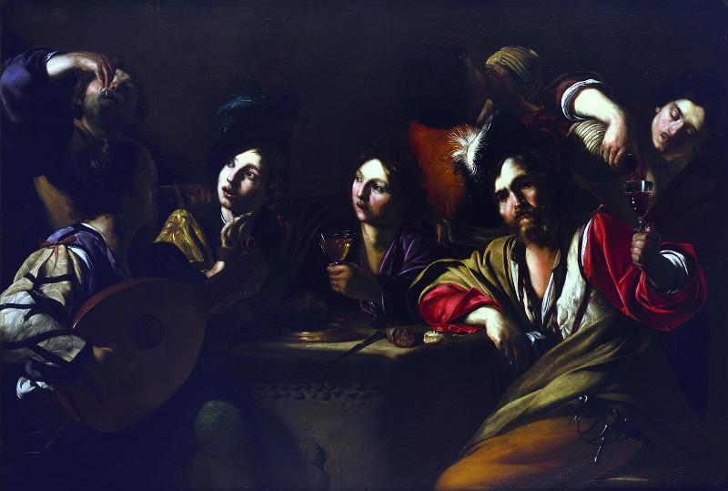 Les Bas-fonds du Baroque. La Rome du vice et de la misère : Bartolomeo Manfredi Réunion de buveurs, vers 1619-1620 Huile sur toile, 130 x 190 © Collection particulière