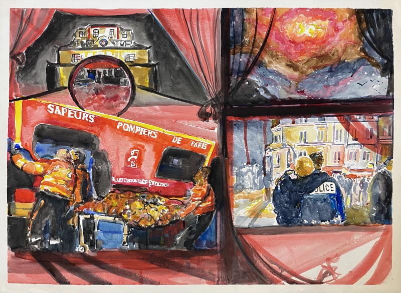 Stéphane Pencreac'h, Les Petits Théâtres de la Mémoire : 5) Bataclan, 13 novembre 2015 2021 Aquarelle 55 x 76 cm Courtesy Galerie Vallois / Stéphane Pencreac'h