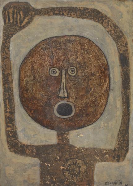 Farid Belkahia. Pour une autre modernité : Cuba Sí 1961 Huile sur papier, collé sur contreplaqué 62,6 x 44,6 cm Tate Modern, Londres © ADAGP, Paris, 2021 © Tate Images