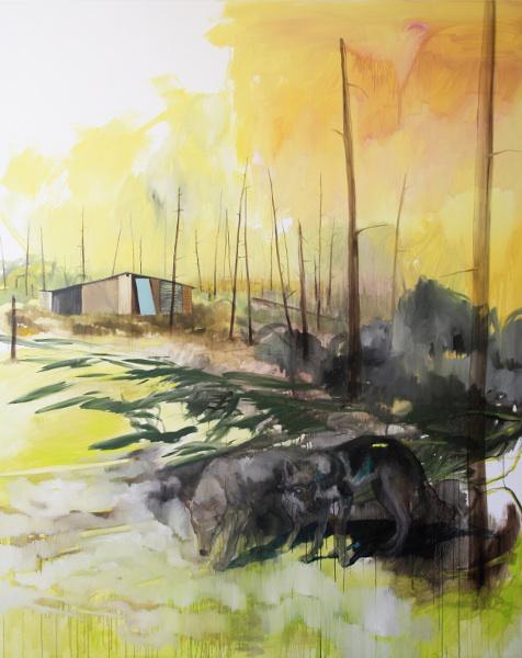 Romain Bernini - Woods : Romain Bernini, Sans titre (série Les Loups), 2012, Huile sur toile, 250x200 cm, Courtesy de l'artiste et Galerie Suzanne Tarasieve, Paris