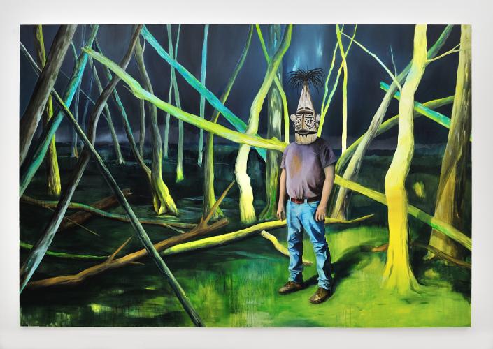 Romain Bernini - Woods : Romain Bernini, Sans titre, 2013, Huile sur toile, 200x300 cm, Courtesy de l'artiste et Galerie Suzanne Tarasieve, Paris