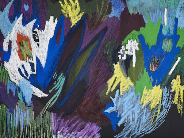 Julie Bessard. La peinture en éclats : Julie Bessard. Sans titre. 2019, pastel à l'huile et huile sur toile, 150 x 200 cm. © Ph. Jean-Baptiste Barret