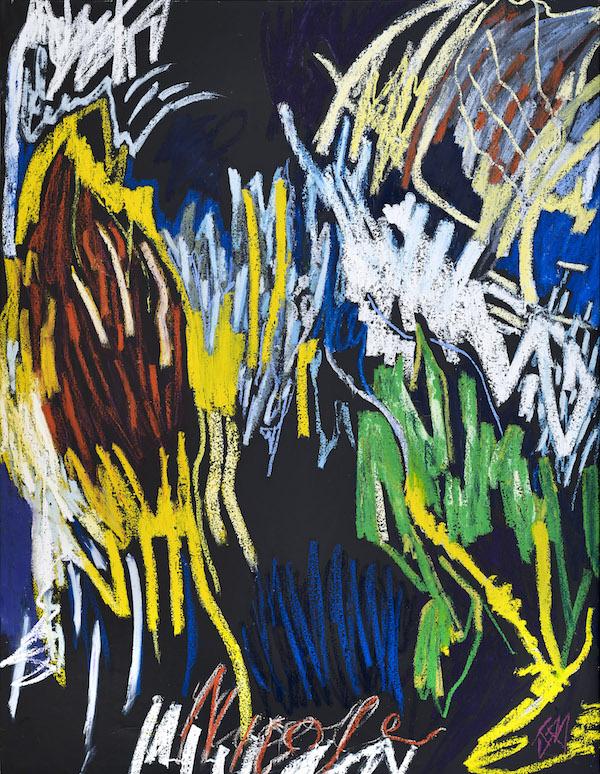 Julie Bessard. La peinture en éclats : Julie Bessard. Sans titre. 2019, pastel à l'huile et huile sur toile, 200 x 150 cm. © Ph. Jean-Baptiste Barret