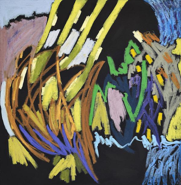Julie Bessard. La peinture en éclats : Julie Bessard. Sans titre. 2019, pastel à l'huile et huile sur toile, 81 x 81 cm. © Ph. Jean-Baptiste Barret