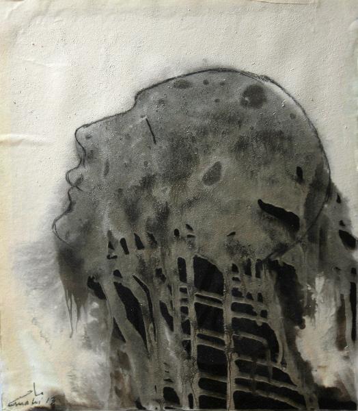 Mahi Binebine – Œuvres récentes : Sans titre 1. Collage, encre et goudron sur papier
