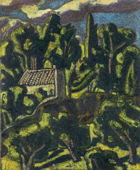 Vincent Bioulès : D'après une croquis de maman, huile sur toile, 73x60 cm, 2010-2012. Courtesy Galerie Vieille du Temple