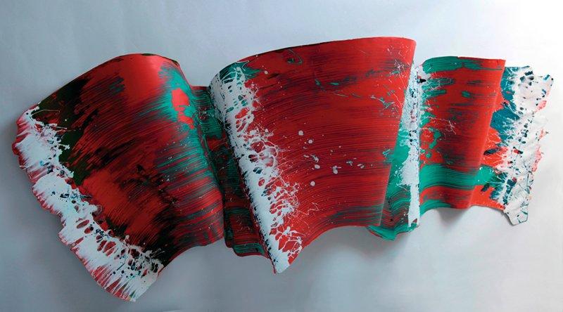 La peinture, mode d'emploi : Blanc, bleu sur vert et rouge, 2011, peinture acrylique sur carton monté sur résine polyester stratifiée, 280 x 110 cm © DR