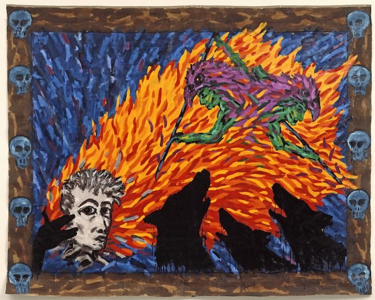 Aux sources des années 1980. Eighties and Echoes. : Remi BLANCHARD Autoportrait, 1982 Huile sur toile libre, 240 x 307 cm Collection Musee d'Art Moderne et d'Art Contemporain, Nice, France Muriel Anssens / Ville de Nice ©