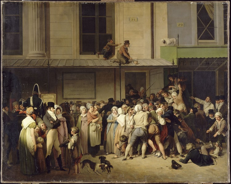 Boilly – Rétrospective : L'Entrée du théâtre l'Ambigu-Comique.1819, huile sur toile, 66 x80 cm. Paris, musée du Louvre.