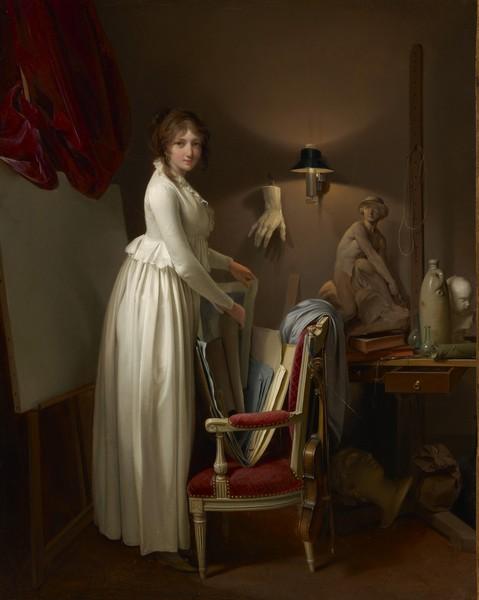 Boilly – Rétrospective : La Femme de l'artiste dans son atelier. Vers 1795-1800, huile sur toile, 41 x 32 cm. Sterling and Francine Clark Art Institute, Williamstown.