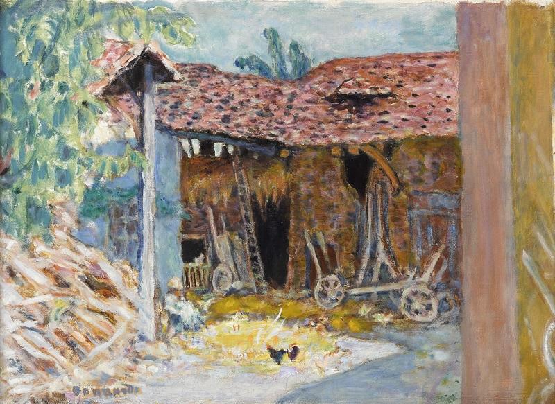 Fenêtres sur cours : Pierre Bonnard (Fontenay-aux-Roses, 1867 - Le Cannet, 1947). Cour de ferme ou La Grange.1919, 43 x 59 cm, Fondation Bemberg, Toulouse