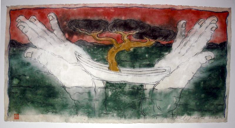 Mark Brusse – La Main et la mer : Mark Brusse. Entre deux mains. 2014, 71 x 133 cm, tempéra et pastel à l'huile sur papier taïwanais marouflé sur toile.