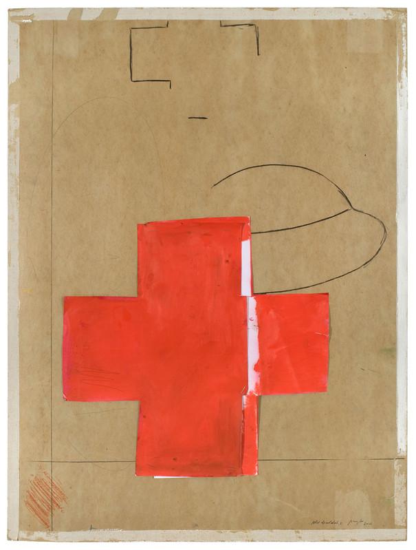 Pierre Buraglio - Le parti pris des restes : Pierre Buraglio, Rêve de soldat X, 2012 Peinture à l'huile et fusain sur carton récupéré — 74×56 cm © Alberto Ricci