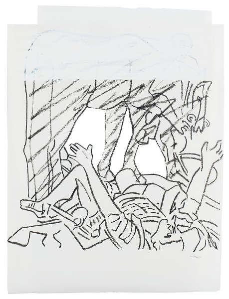 Pierre Buraglio – D'après Delacroix et autres maîtres : d'après…Le Caravage. La chute de Saint Paul, (ou l'éblouissement de Saint Paul), 1990, Fusain et acrylique sur calque, 112 X 84 cm. Collection Pierre Buraglio. Cliché Musée de Vannes.