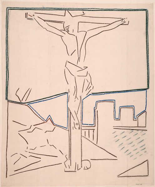 Pierre Buraglio – D'après Delacroix et autres maîtres : d'après…Philippe de Champaigne- Crucifixion, 1981, Crayons de couleur, stabilo sur papier calque, 114,1 X 94,3 cm, Collection Musée National d'Art Moderne – Centre George Pompidou. Cliché RMN tous droits réservés