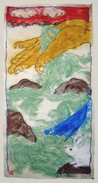 Mark Brusse – La Main et la mer : Mark Brusse. Puzzled rabbit. 2014, 133 x 71 cm, tempéra et pastel à l'huile sur papier taïwanais marouflé sur toile.