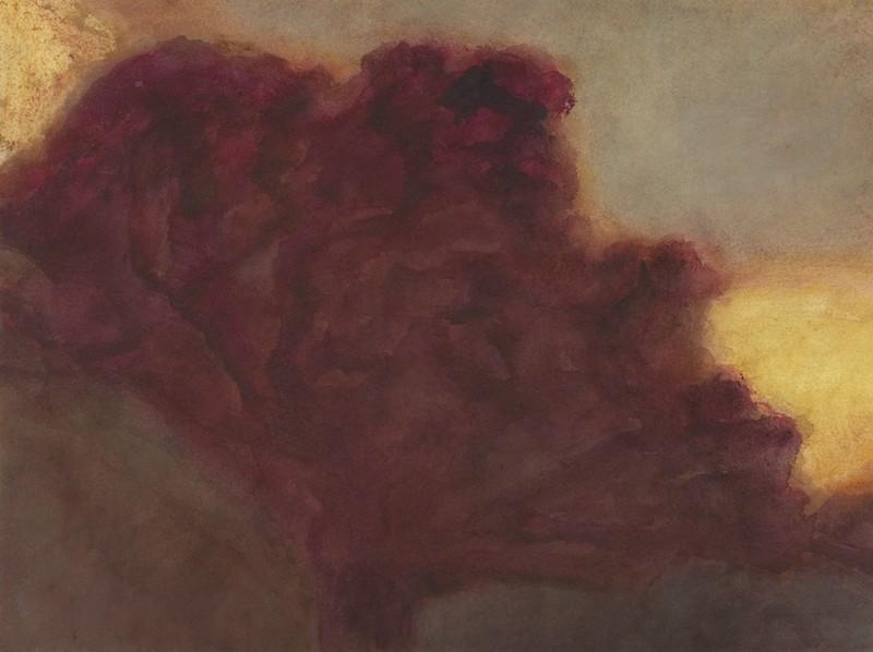 Alexandre Hollan  – L'expérience de voir : Le grand chêne de Viols-le-Fort, le soir, 2006, acrylique, 57 x 76 cm © Illés Sarkantyu