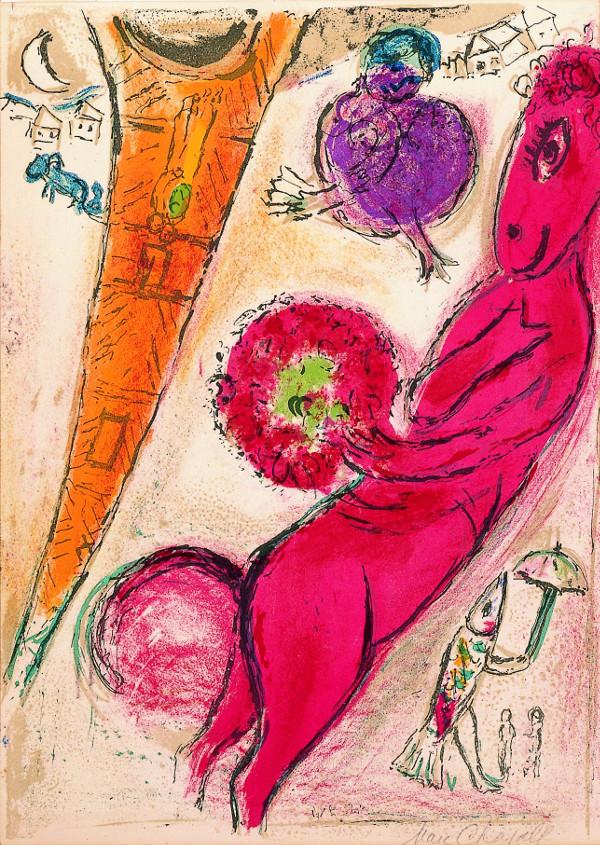 Vivantes natures : Marc Chagall. Tour Eiffel à l'âne rouge. 1954, Lithographie originale en couleurs sur Arches, 38 x 56 cm