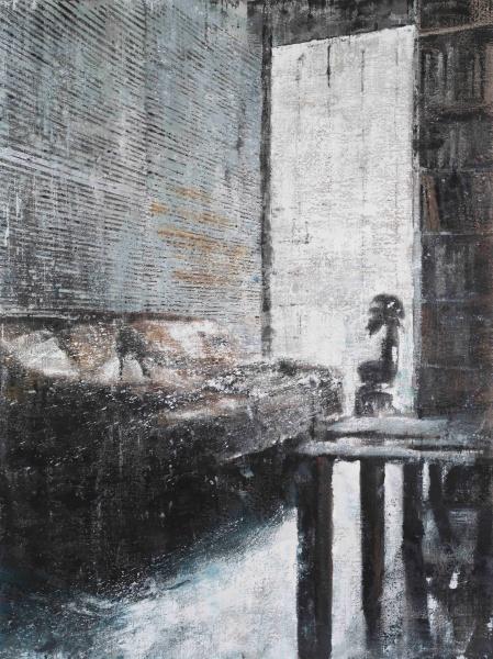 Philippe Cognée. Nocturnes : Idole, 2017 Peinture à la cire sur toile / Wax painting on canvas 200 x 150 cm / 78 ¾ x 59 in. Photo: B.Huet-Tutti