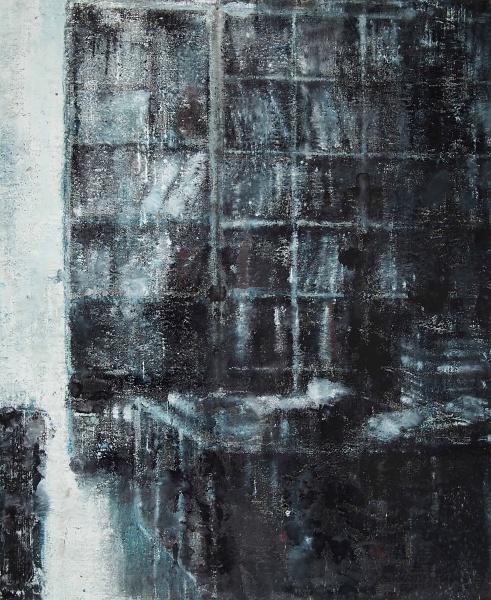Philippe Cognée. Nocturnes : Bibliothèque, 2017 Peinture à la cire sur toile / Wax painting on canvas 153 x 125 cm / 60 ¼ x 49 ¼ in. Photo: B.Huet-Tutti