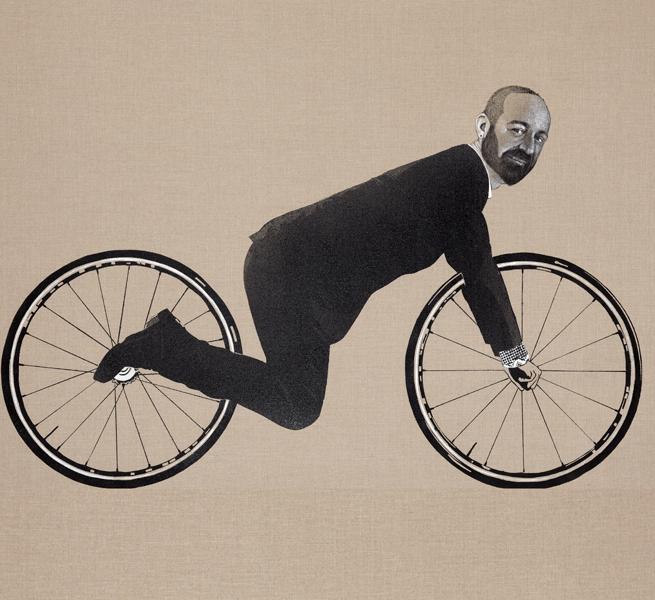 Khaled Takreti, la peinture liberté : Ça roule, 2013, acrylique sur toile, 106 x 196 cm