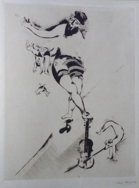 Chagall – Impressions : Marc Chagall. L'Acrobate au violon, 1924, Gravure pour  l'album n°3 des Peintres graveurs projeté par Vollard, Eau forte et pointe sèche, 41,5 x 31,55 cm. Kornfeld 40. Collection BnF, département des estampes et de la photographie © ADAGP, Paris 2014 - Ch