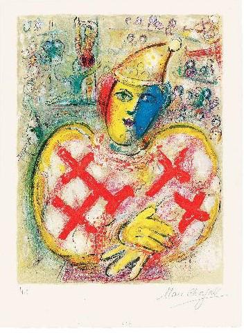 Chagall – Impressions : Marc Chagall. Le Cirque. 1967, Lithographie en couleurs, 52 x 38 cm. Mourlot 499  © Collection Charles Sorlier. Courtesy Bouquinerie de  l'Institut Paris © ADAGP, Paris 2014 - Chagall ®