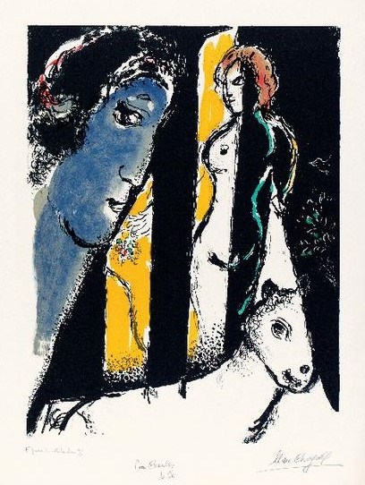 Chagall – Impressions : Marc Chagall. Le Pro?l bleu. 1972, Lithographie en couleurs, 74 x 55,7 cm. Mourlot 647  © Collection Charles Sorlier. Courtesy Bouquinerie de  l'Institut Paris© ADAGP, Paris 2014 - Chagall ®
