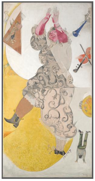 De Chagall à Malévitch, la révolution des avant-gardes : Marc Chagall. La Danse. 1920, Tempera sur toile, gouache, 213,3 x 107,8 cm. Galerie nationale Tretiakov, Moscou. © Galerie nationale Tretiakov, Moscou / © ADAGP, Paris 2015