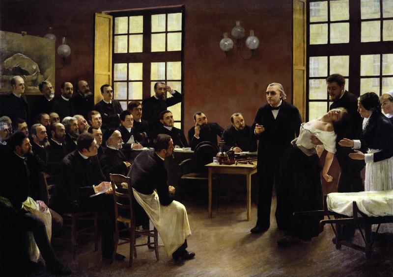 Charcot, une vie avec l'image : André BROUILLET. Une leçon clinique à la Salpêtrière. 1887, huile sur toile, 300 x 425 cm.  Collection musée de l'histoire de la médecine, Paris.