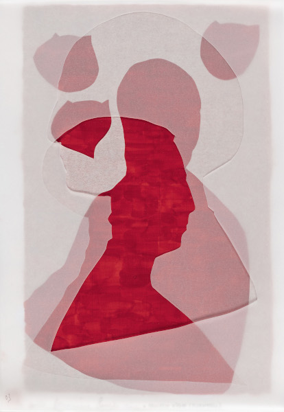 Crozat, Clavé, Blaise : assemblages et évanescences à Issoudun : Christine Crozat, Hommage à Piero della Francesca, Pisanello et Leonardo da Vinci, Technique mixte sur papier, 37 x 28,5 cm © Jean-Louis Losi